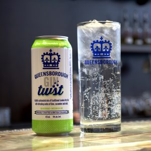 Queensborough Gin TWST LIme + Cucumber + Mint & glass