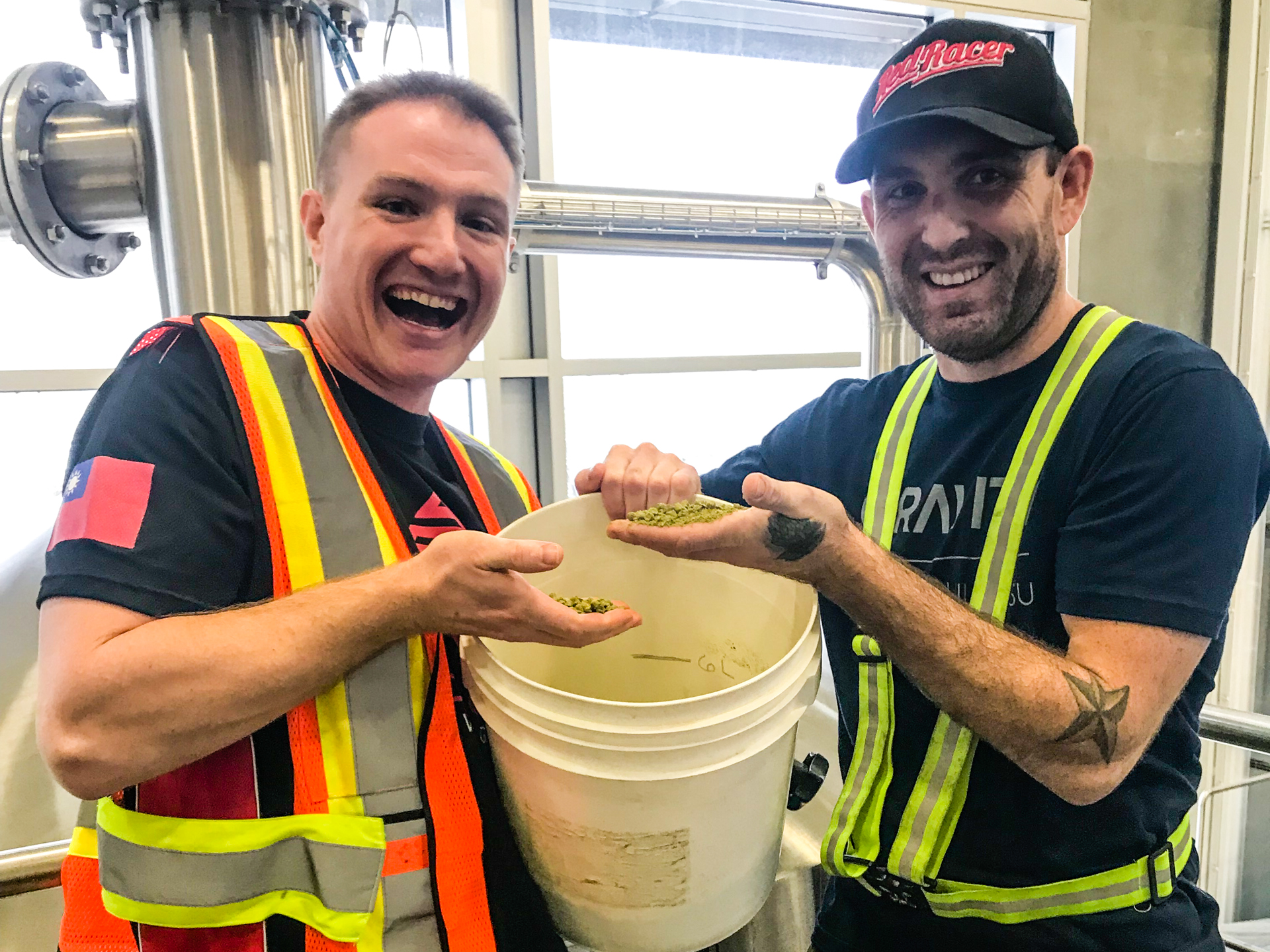 Red Racer Redpoint Brewing Co. Collaboration Brew Day - Spencer and Zak with Hops