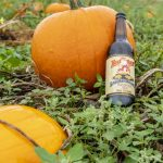 Red Racer Snickerdoodle Pumpkin Ale Bottle Leaning on Pumpkins 2