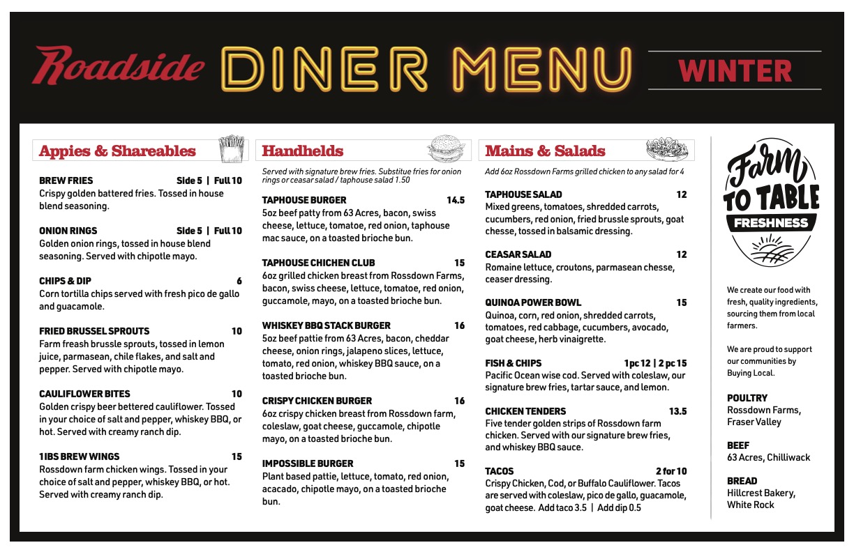 New roadside menu in correct size